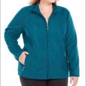 Karen Scott Womens Plus Zip front Jacket